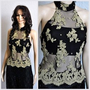 Tops - Gold Lace Halterneck Top Cinched Waist Open Back